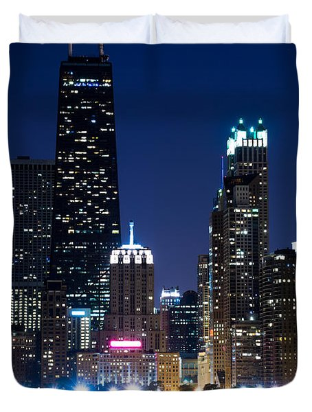 Chicago Skyline At Night With John Hancock Building Duvet Cover by Paul Velgos