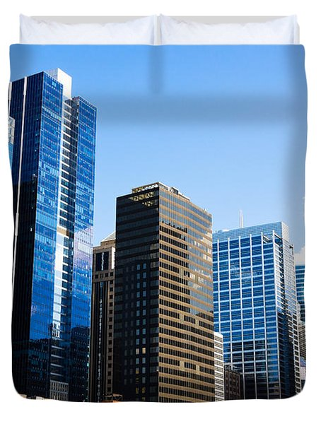 Chicago Skyline Downtown City Buildings Duvet Cover by Paul Velgos