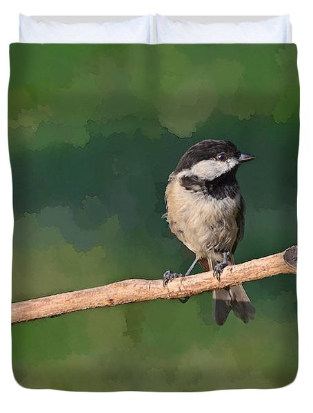 Chickadee On A Stick Duvet Cover by Debbie Portwood