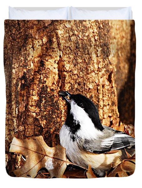 Chickadee With Sunflower Seed Duvet Cover by Larry Ricker
