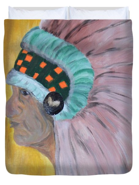 Duvet Cover featuring the painting Chief by Maria Urso