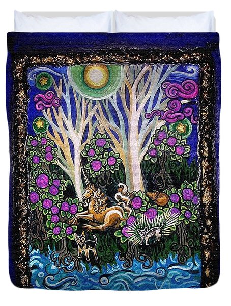 Chihuahuas On Unicorn Island Duvet Cover by Genevieve Esson