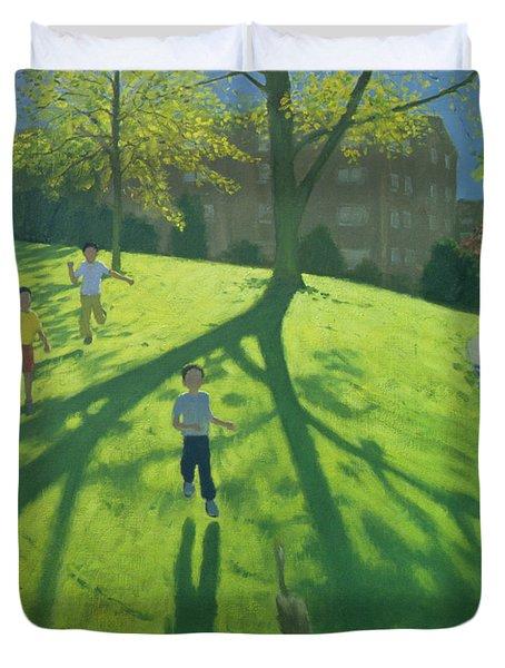 Children Running In The Park Duvet Cover by Andrew Macara