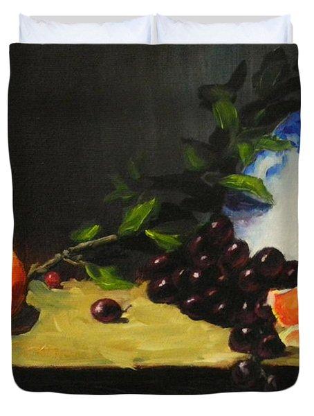 China Bowl And Fruits Duvet Cover