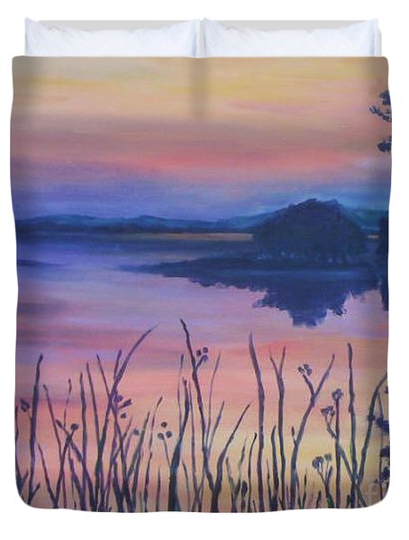 Duvet Cover featuring the painting Chincoteaque Island Sunset by Julie Brugh Riffey