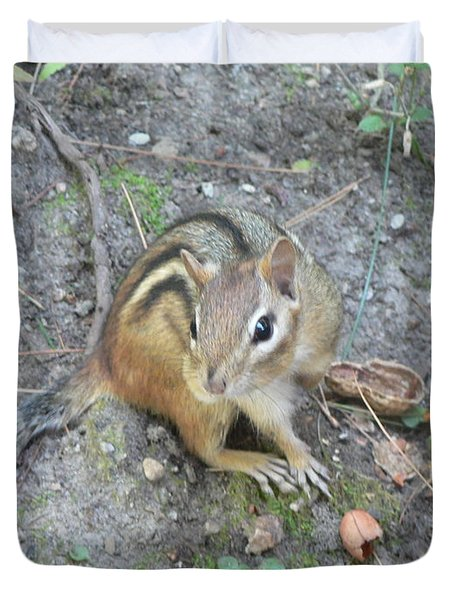Duvet Cover featuring the photograph Chipmunk Feast by Laurel Best