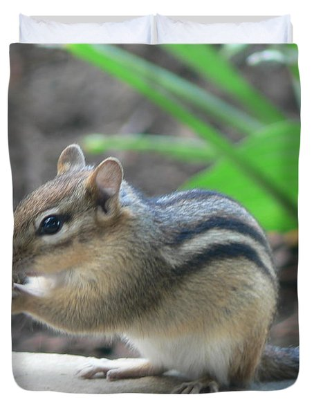 Duvet Cover featuring the photograph Chipmunk by Laurel Best