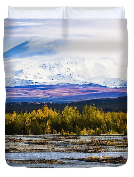 Chistochina River And Mount Sanford Duvet Cover by Yves Marcoux