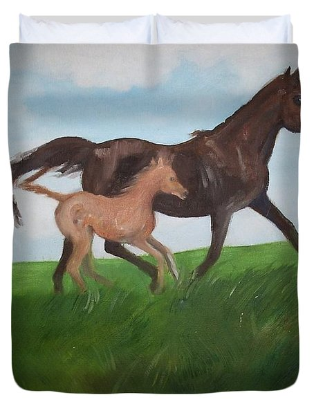 Duvet Cover featuring the painting Chloe's Dream by George Pedro