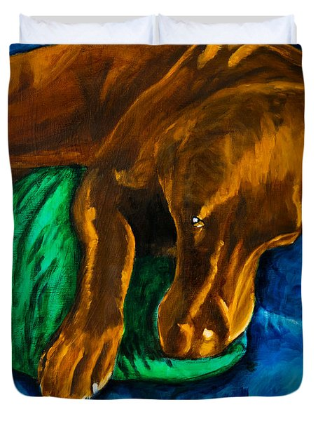 Chocolate Lab On Couch Duvet Cover by Roger Wedegis