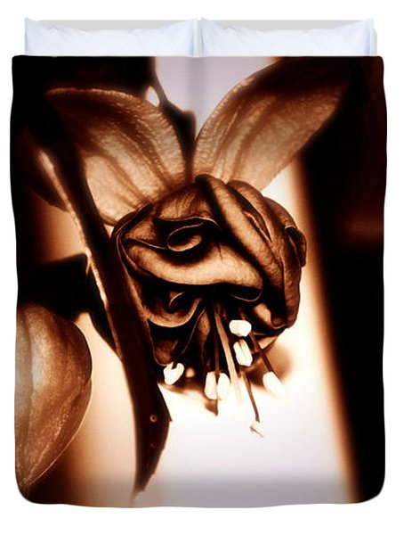Duvet Cover featuring the photograph Chocolate Silk Fuchsia II by Jeanette C Landstrom
