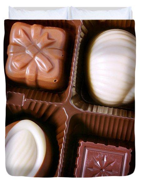 Chocolates Closeup Duvet Cover by Carlos Caetano