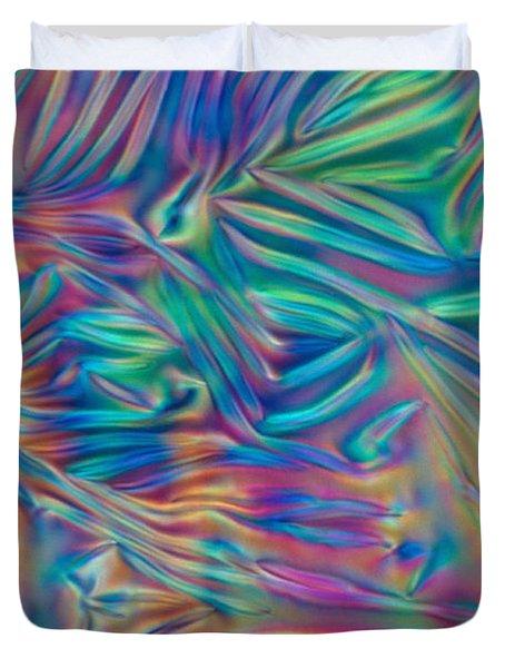 Cholesteric Liquid Crystals Duvet Cover by Michael Abbey and Photo Researchers