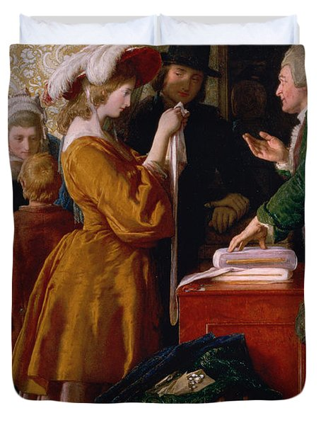 Choosing The Wedding Gown From Chapter 1 Of 'the Vicar Of Wakefield' Duvet Cover by William Mulready