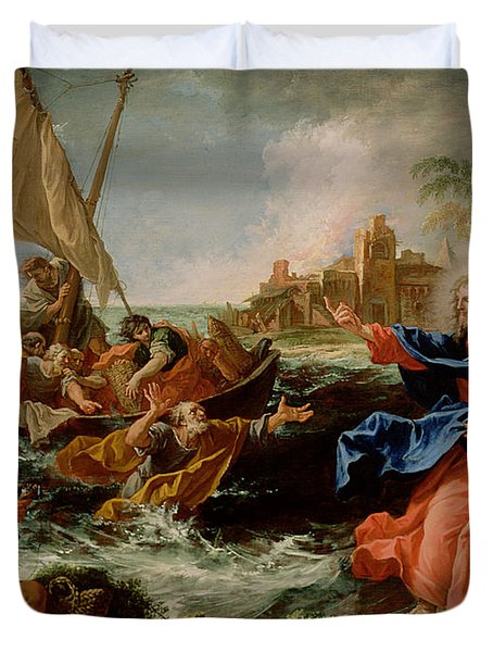 Christ At The Sea Of Galilee Duvet Cover by Sebastiano Ricci