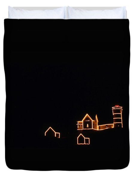 Christmas At The Nubble Duvet Cover by Skip Willits