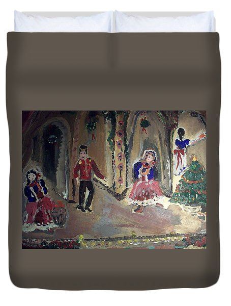 Duvet Cover featuring the painting Christmas Edwardian Ballet by Judith Desrosiers