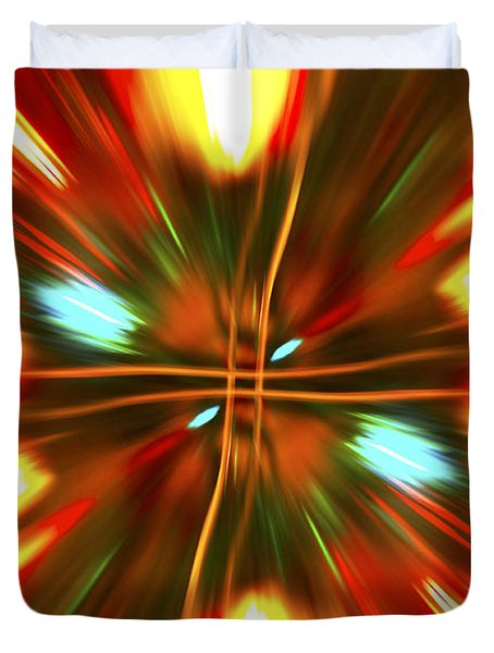 Duvet Cover featuring the photograph Christmas Light Abstract by Steve Purnell
