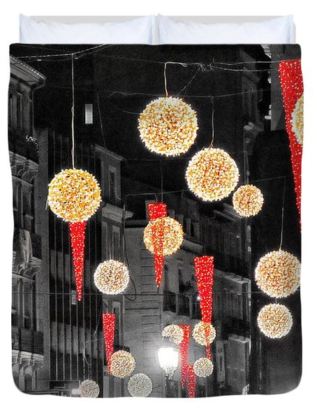 Christmas Lights In Alicante Duvet Cover