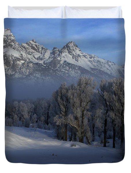 Christmas Morning Grand Teton National Park Duvet Cover