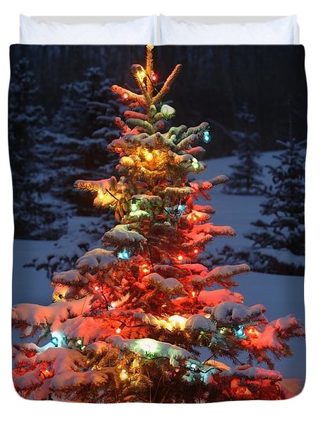 Christmas Tree With Lights Outdoors In Duvet Cover by Carson Ganci