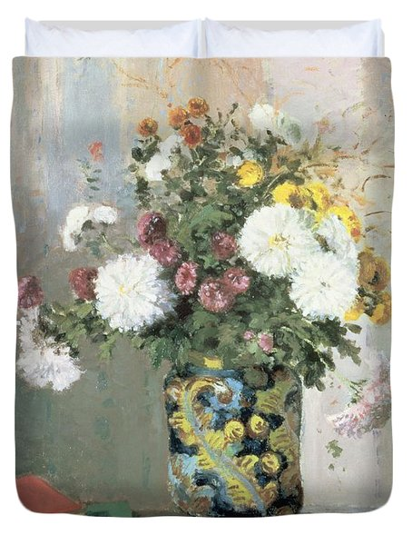 Chrysanthemums In A Chinese Vase Duvet Cover by Camille Pissarro