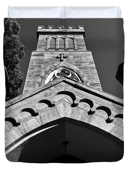 Church Facade In Black And White Duvet Cover