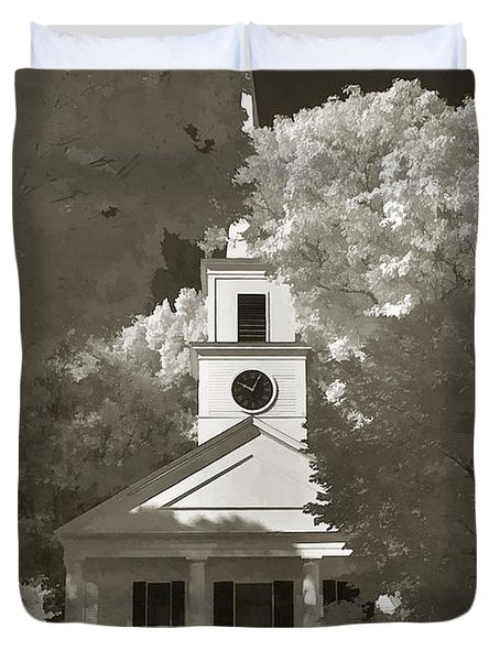 Church In Infrared Duvet Cover by Joann Vitali