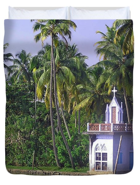 Church Located On A Coastal Lagoon In Kerala In India Duvet Cover