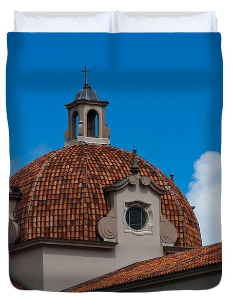Duvet Cover featuring the photograph Church Of The Little Flower Dome And Cross by Ed Gleichman