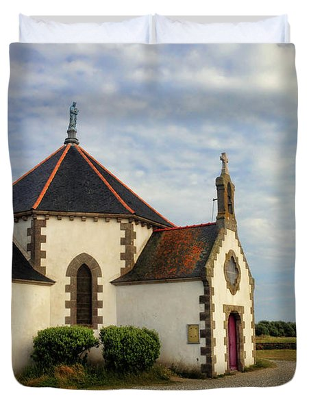 Duvet Cover featuring the photograph Church Off The Brittany Coast by Dave Mills