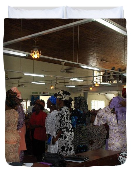 Church Service In Nigeria Duvet Cover by Amy Hosp