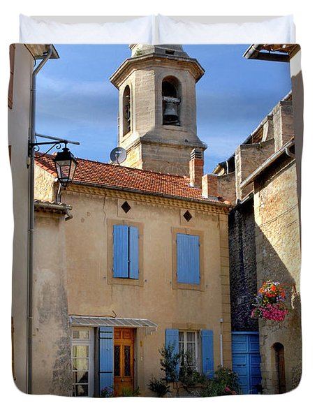 Duvet Cover featuring the photograph Church Steeple In Provence by Dave Mills