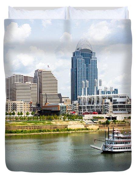 Cincinnati Skyline With Riverboat Photo Duvet Cover by Paul Velgos