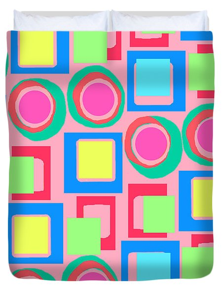 Circles And Squares Duvet Cover by Louisa Knight
