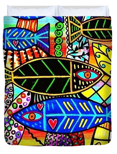 Citrine Coral Fish Duvet Cover