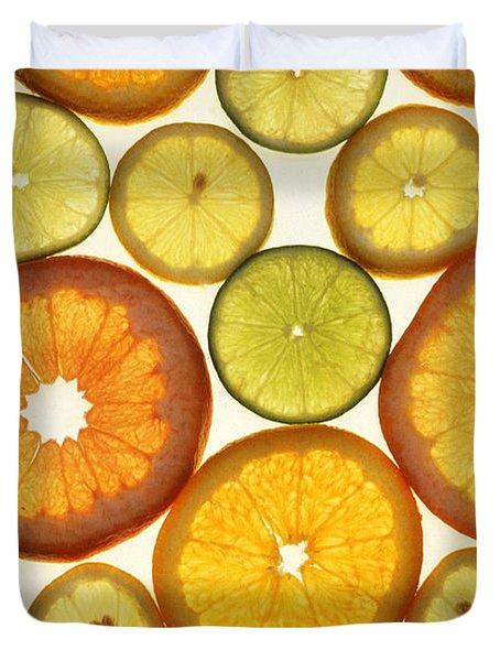 Citrus Slices Duvet Cover by Photo Researchers