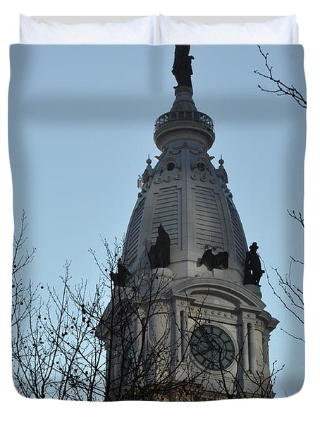 City Hall Tower Philadelphia Duvet Cover by Bill Cannon