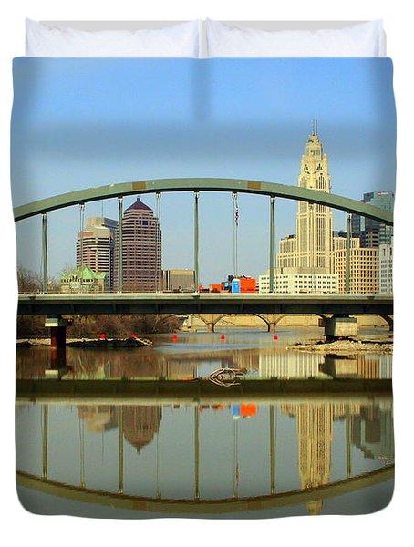 City Reflections Through A Bridge Duvet Cover