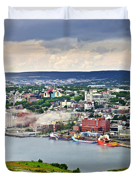 Cityscape Of Saint John's From Signal Hill Duvet Cover by Elena Elisseeva