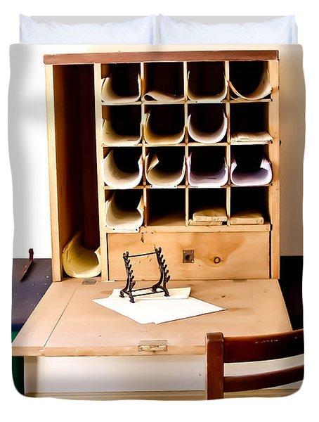 Civil War Desk Duvet Cover by Trish Tritz