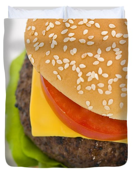 Classic Hamburger With Cheese Tomato And Salad Duvet Cover by Ulrich Schade