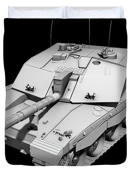 Clay Render Of A Challenger II Tank Duvet Cover by Rhys Taylor