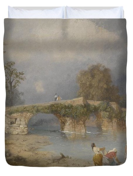 Clearing Up For Fine Weather Beddgelert North Wales 1867 Duvet Cover by James Baker Pyne