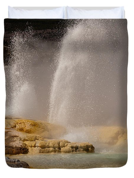 Clepsydra Geyser Yellowstone National Park Duvet Cover