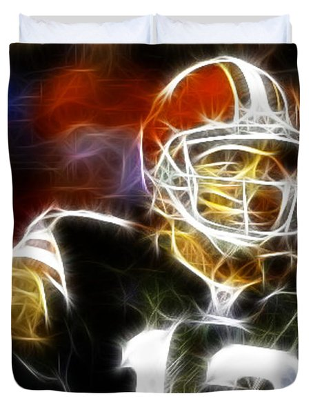 Cleveland Browns Colt Mccoy Duvet Cover by Paul Van Scott