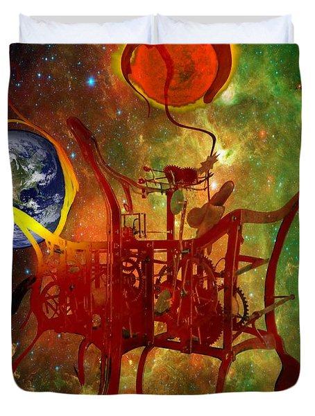 Clock Of Universe Duvet Cover by Helmut Rottler