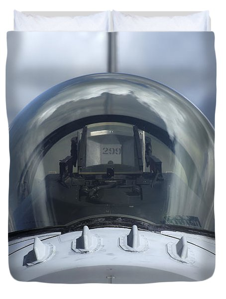 Close-up View Of The Canopy On A F-16a Duvet Cover by Ramon Van Opdorp