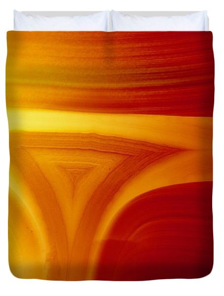 Close View Of Red Agate With Lighting Duvet Cover