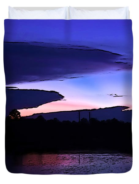 Duvet Cover featuring the photograph Clouded Sunset Over The Tomoka by DigiArt Diaries by Vicky B Fuller